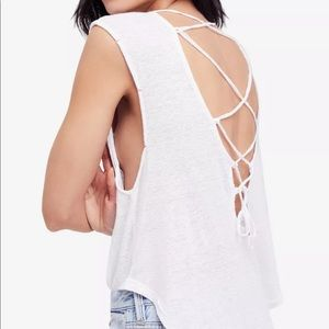Free People Tops - Free People love birds lace up back t-shirt Med